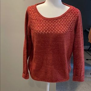 Sz L Loft rust knit sweater